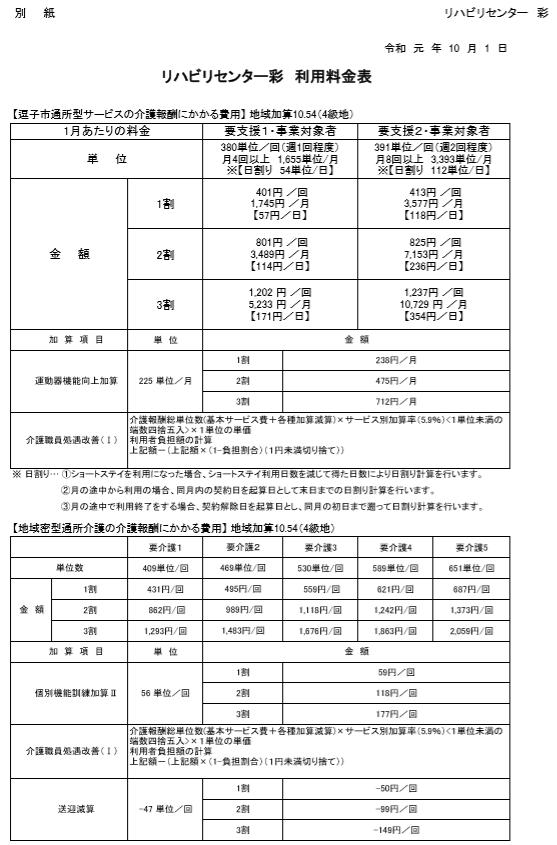 R1料金表1